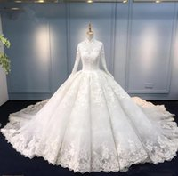 Latest Muslim Wedding Dresses Ball Gown High Neck Long Sleev...
