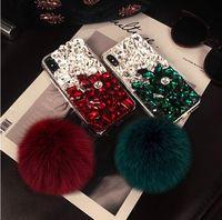Bling Cristal Diamante Fox Fur bola pingente Case Capa Para Iphone 11/12 Pro Max XS Max XR X 8 7 6S Além disso Samsung Galaxy Note 9/10 S8 / 9/10 PLUS