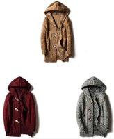 Novo chapéu de comércio exterior dos homens e camisola dos homens de Costura Moda Masculina, auto-cultivo, botão de fivela, casaco de comprimento médio camisola solta