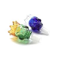 couronne crâne morceau vert et bleu bols joint mâle bol en verre 18mm et 14mm bong bol pour l'eau en verre Accessoires Bangs fumer du tabac