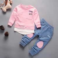 TRBOSS Kids Sets 1-5T Kids Cardigan Zipper Coats Pants 2Pcs / set Bambini Sports Sets Cappotti manica lunga 91% Cotone moda Estate per bambini.