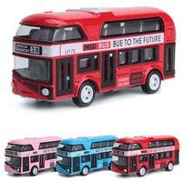 4 ألوان الإنسحاب سبيكة الطابقين حافلة اللعب نموذج سيارة ألعاب للأطفال حافلة مدرسة مدينة لندن الطفل السيارة brinquedos هدية