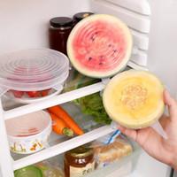 Yeniden kullanılabilir Silikon Gıda Kapak Stretch Kapaklar Evrensel Gıda Wrap Kapak Gıda Taze Silikon Gerdirilebilir Sihirli Kapak 6pcs Caps tutulması / set