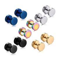 Venta al por mayor Colorido acero inoxidable Barbell Ear Stud Pendientes de Barbell Fashionable Piercing Joyería para hombres y mujeres