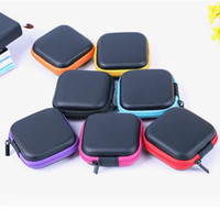 Mini cremallera del auricular de la caja Auriculares USB protectora del organizador del cable de auriculares Spinner Bolsas de almacenamiento caja de la PU bolsa de cuero T2I5599