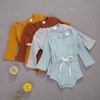 Jumpsuits Né Baby Boys Girls Knit Jumpsuit Jumpsuit Équipe Couche à manches longues Buttons Rompe Combinaison Automne Casual Vêtements