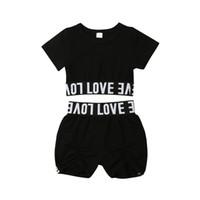 1-7Y Neue Kinder Kleidung Heißer Verkauf Baby Mädchen Kurzarm Crop Tops + Shorts 2 Stücke Outfits Kinder Brief Gedruckt Sommer Kleidung Set