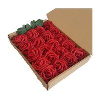 60pcs 3Boxes 13colors DIY 꽃다발에 대 한 인공 장미 PE 거품 가짜 꽃 웨딩 자동차 웨딩 팔찌 벽 Sencery Festival Supplies 소품
