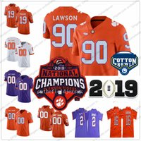 Clemson Tigers # 90 Dexter Lawrence 42 Christian Wilkins 19 Tanner Muse 2018 Campioni nazionali Cotton Bowl College Football Maglie S-3XL
