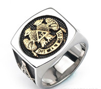 Factory wholesale men' s stainless steel 32 Eagle ring