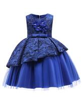 2019 Blue Lace Flower Girl Dresses Ropa encantadora con un gran arco Tutu En stock Barato para la edad 3 ~ 12 Ojo de la cerradura Volver B203