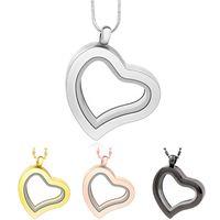 magnética de vidrio flotante del corazón del encanto medallón de aleación de zinc (incluidas las cadenas de forma gratuita) LSFL04