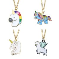 Horse Necklace For Children Kids Enamel Cartoon Horse Jewelr...