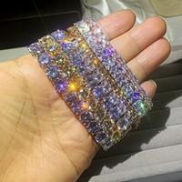 Súper Bling Bling Cristal de lujo oro blanco de relleno del corte redondo CZ Topaz blanco Partido eternidad de diamantes de piedras preciosas pulsera de las mujeres populares de la boda