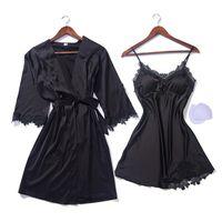 Летнее сексуальное шелковое ночное платье и халат набор спагетти ремни атласная ночная рубашка женщины ночная рубашка + халат 2 шт.