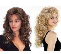 Peruca marrom longo com Neat bangs Synthetic encaracolado sintético loiro perucas para as mulheres Falso cabelo bonito