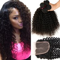 7A Brazilian Curly Virgin Hair 3 Bundles With Lace Closure F...