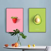 Gemälde Nordic Kitchen Dekoration Poster Kokosnuss Himbeer Mango Pflaume Früchte Leinwand Malerei HD Print Wandkunst Bild für Wohnzimmer