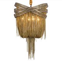 البرونزية الحديثة الألومنيوم الثريا ضوء الايطالية شرابة تصميم سلسلة لماعة مصباح معلق الإضاءة ل غرفة المعيشة بهو LLFA