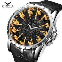 ONOLA moda lüks saat adam 2019 yeni klasik marka altın kuvars kol saati deri su geçirmez serin stil renk nöbetten gül