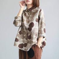 FJE Nueva Primavera Camisas, más el tamaño algodón de manga larga de lino botón camisas ocasionales de la vendimia del lunar de impresión blusas Vintage P11