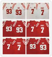 New NCAA 7 Scott Gelo Jersey Nebraska Cornhuskers 93 Ndamukong Suh Mens Jersey Football Jersey bianco rosso 100% cucito Vendita calda