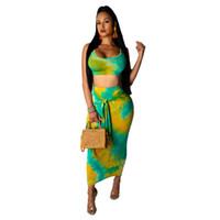 여성의 두 조각 바지 여자 2 스커트 세트 여름 섹시한 자르기 탑 및 랩복 여자 fashoin 렌더링 인쇄 된 복장 옷 PCS 세트