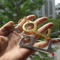 Metallsicherheit Touchless Türöffner Stylus Schlüsselhaken Metall Hände Frei Tür Grifföffner Aufzug Werkzeuge Keychain T2I5965