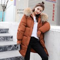 mujeres de la chaqueta de invierno 2019 nuevas mujeres encapuchadas abajo cubren de piel cremalleras de cuello largo y caliente femenina T191121