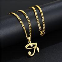 Moda Mens Designer Hip Hop Jóias Banhado Ouro Olho de Horus Pingente Colar Rhinestone 60 cm Long Chain Punk Men Colares para mulheres Presente