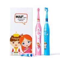 3-6-9-12 سنة من العمر الأطفال فرشاة الأسنان الكهربائية الطفل للماء فرشاة الأسنان موجة الصوت التلقائي مع 4 رؤساء استبدال