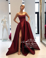 Sexy Burgundy Plus Size Cheap Evening Dresses 2019 A Line Co...