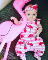Lindo bebé mameluco flamenco impreso niños ropa verano recién nacido niña mamelucos mono algodón sin mangas bebé Onesie trajes de una pieza