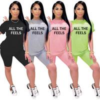 Natürlich Bild Frauen Tracksuits Sommer-Buchstabe gedruckte kurze Hülsen T Shirt-Startseite Indoor Freizeit-Outfits Twp-piece Arbeiten Shorts Sets