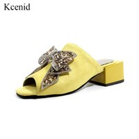 Kcenid New fashion women shoes summer peep toe flock slides ...