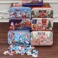 60 ncs / set navidad rompecabezas de madera niños juguete santa claus jigsaw navidad niños temprano educativo bricolaje jigsaw niños navidad bebé regalos la206
