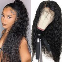 Perruques synthétiques naturelles de couleur noir brun pour femmes noires lâche onde bouclée de dentelle avant perruque bébé cheveux pré-corsé résistant à la chaleur 24 pouces