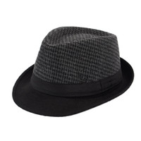 مزيج الرجال قبعة فيدورا كلاسيكي سميكة قصيرة بريم مانهاتن العصابات تريلبي كاب القطن أزياء المرأة قبعة Trilby