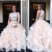 2020 Gorgeous Two Pieces Prom Dresses Long Ruffles Tulle Qui...