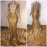 2020 Sexy Gold Sequined Long Sleeves Prom Dresses African De...