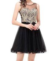 Abiti da abbigliamento da casa in chiffon in pizzo nero Brevi abiti da ballo Vestido De Festa Curto Plus Size Prom Dresses