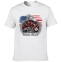 United States Newyork Road Race Motorcycle Printed T Shirt M...