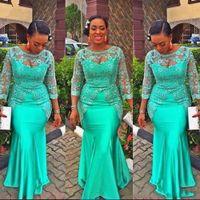 Abito da sera africano africano turchese 2019 Vintage Lace Nigeria Maniche lunghe Abiti da ballo Aso Aso EBI Style Style Party Gowns