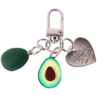 New Fashion Engraved Metal Heart Avocado Fruit Keychain, Bag Car Pendant Key Chain with Charms 2019 Style