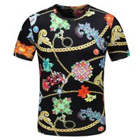 Casual chain flower print t shirt for men cotton short sleev...