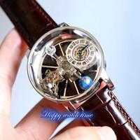 Versão estática EPIC X Chrono Cr7 Relógios Astronômico Tourbillon Esqueleto Aventurine Dial Swiss Quartzo Rose Gold Case Brown Strap Mens Watch