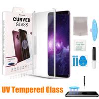 Vidro temperado UV para Nota 20 Ultra Note 10 Plus S10 UV Glue Completo De Vidro Temperado Caixa Sem Fora Para S20 Ultra S10 Plus