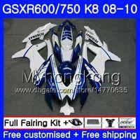 Kit per SUZUKI GSXR 750 600 GSX-R750 GSXR600 2008 2009 2010 297HM.38 GSX R600 R750 600CC blu bianco caldo GSX-R600 K8 GSXR750 08 09 10 Carenatura