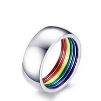 LGBT Радуга 8мм из нержавеющей стали мужские Кольцо ЭПОКСИДНЫЕ LGBTQ аксессуары бисексуал персонализированные циркон кольцо ювелирные изделия