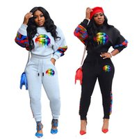 Fall Winter Women jogger suit plus size lip outfits solid color tracksuit pullover hoodies top+pants two pieces set casual sportswear 2215